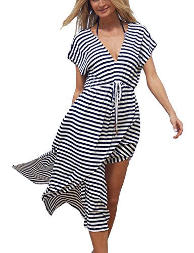 Ailunsnika Stripe Casual Long Beach Dress Cover Ups for Women Short Sleeve Swimwear Kaftan Swimsuit Cover up Dresses