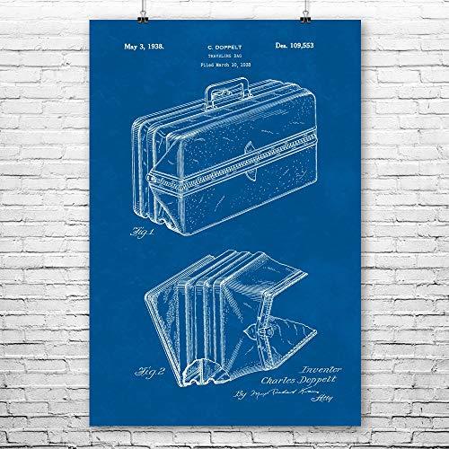 Doppelt Expandable Suitcase Poster Print, Travel Gift, World Traveler, Globe Trotter, Charleselt, Bathroom Art (12 inch x 16 inch)