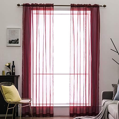 cortinas habitacion visillo rojo