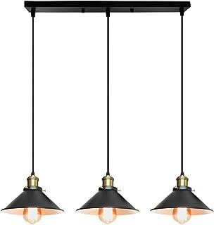 Suspension Luminaire Industrielle 3 Lumière -Ø22 cm Noir , Plafonnier Vintage Lustre Abat-Jour en Métal de Culot E27 Lampe...