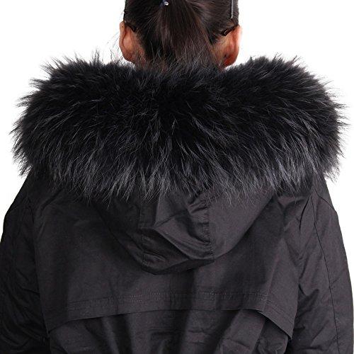 Deargles Echte Waschbärpelz Frau Pelz-Schal-Schal f¨¹r Wintermantel Kragen oder Kapuze Edges Schwarz 70cm*15cm