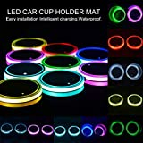 Sanpanie LED Car Cup Holder Lights 7 Colors Changing USB Charging Mat Cup Pad Coaster Insert LED Interior Atmosphere Lamps