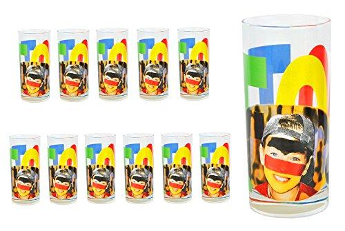 Lot de 12 verres à eau face tatoo