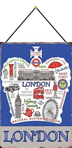 Blechschild mit Kordel 30 x 20 cm London - Blechemma