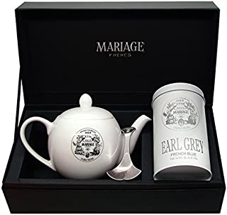 Mariage Frères - Coffret DÉGUSTATEUR Earl Grey French Blue Schwarzer Tee, Teekanne & Teedose Löffel-Set