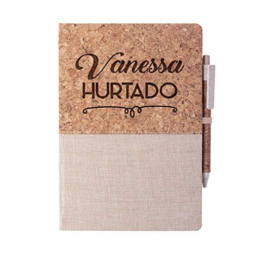 Cuaderno Personalizado con Nombre Grabado o texto Con Boligrafo - Cuaderno Original Corcho Algodon Natural Libreta Bloc de Notas A5