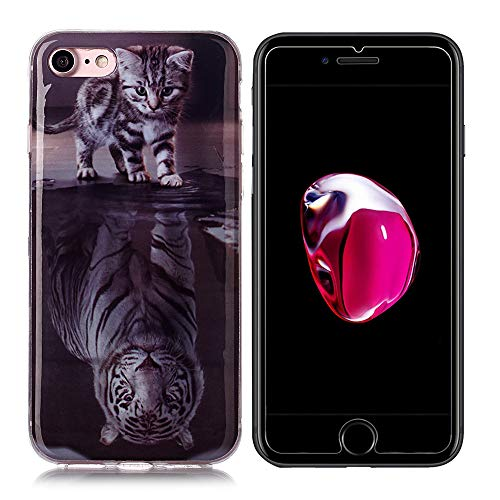 SEEYA Coque et Verre Trempé pour iPhone Se 2020, Coque Silicone Tigre Chat Souple Etui Housse Arriere Bumper + Ecran Protecteur Film Kit de Protection Integrale pour iPhone Se 2020