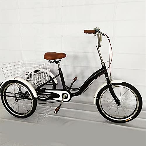 Futchoy Triciclo para adultos de 20 pulgadas, con cesta, velocidad única, para adultos, 3 ruedas, con cesta de la compra, altura del vehículo, se puede configurar para personas mayores