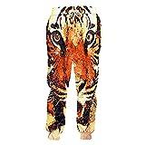 Pantalones de chándal para Hombre Pantalones de Tigre de Animales Impresos en 3D Pantalones de Ocio de Gran tamaño para Hombre-Orange_XL