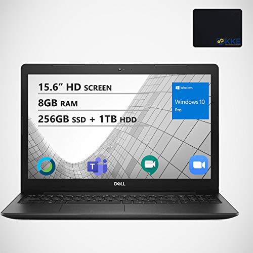 Dell Inspiron 15.6' HD Business Laptop, Intel 4205U, 8GB RAM, 256GB PCIe SSD + 1TB HDD, Webcam, Wireless AC, Bluetooth, KKE Mousepad, Win10 Pro, Black