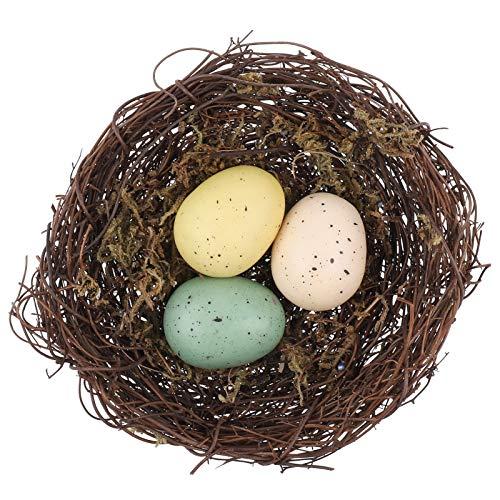 HEALLILY Creativo Nido de Pájaros Decorativo Hecho a Mano Nido de Pájaro Artificial con 3 Huevos Decorativos para Disparar Decoración de Jardinería