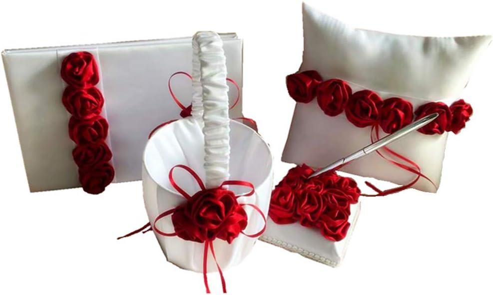 Dollbling Elegant Regular dealer Fresno Mall Burgundy Rose Decor Girl Wedding Basket Flower
