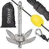 ONVAYA® Ancoraggio per barche | 0,7 kg | Set con corda di ancoraggio con moschettone, barca di ancoraggio e sacchetto per il trasporto | ancora pieghevole | ancora per barca, canoa, SUP, kayak, canoa