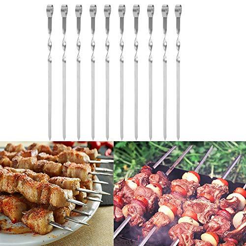 Pinchos Kebab de acero inoxidable, 10 pinchos planos reutilizables de metal para barbacoa, cóctel, shish Kabob, elementos esenciales de fiesta, 37 cm