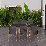 Amazonia Barrington 7-Piece Outdoor Rectangular Dining Table Set   Eucalyptus Wood   Ideal for Patio and Indoors