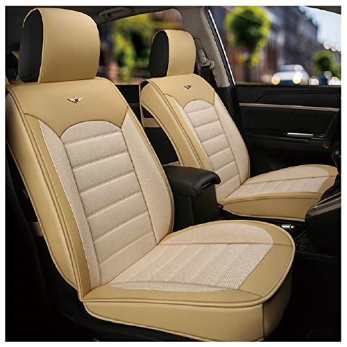 Car Set Cover Seat Cushions Universal FREESOO Front Rear Full Set Linen Seat Cover for 5 Seats Vehicle Suitable for Year Round Use Beige