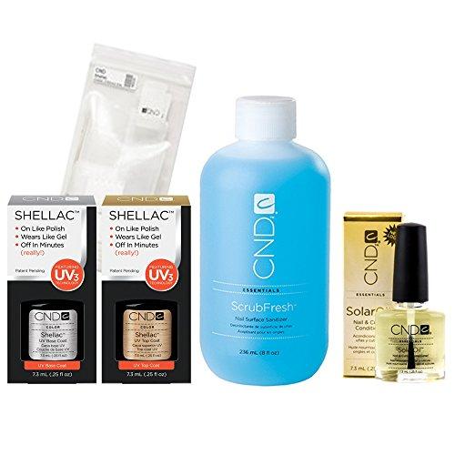CND Shellac Kit de traitement 222 ml, 10 bandes, 7,3 ml d'huile solaire