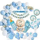 MMTX Baby Shower Dekoratione Jungen, Baby Dusche Party Deko Blau Mama, Schärpe, Baby-Dusche-Banner, Baby-Folienballon für Mama Sein Geschlecht offenbaren Party