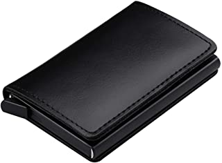 Aluminum RFID Blocking Automatic Pop-Up PU Leather Wallet Men Slim Business Credit Card Holder