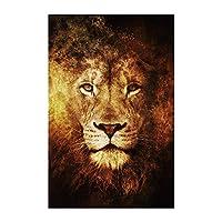 """抽象的な火ライオンポスターキャンバス絵画壁アートアフリカの野生動物のポスターと壁のプリント写真リビングルーム40x60cm / 15.7""""x23.6""""フレームレス"""