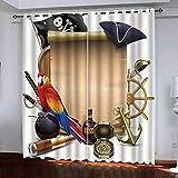 Smxsfff Cortina Dormitorio 3D Pirata Poliéster Moderno Cortinas para Salón Dormitorio Infantil Habitación Cocina Hogar Decoración.150X166Cm(W*H Cm)