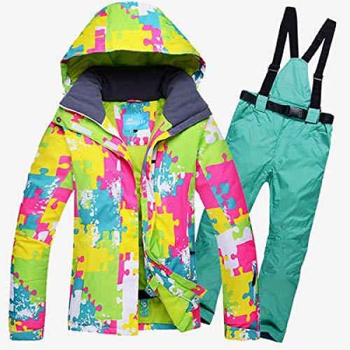 Skipak JSGJHXFFemuta skipak voor ski's of snowboarden en broek, waterdicht, winddicht, winterjas en broek