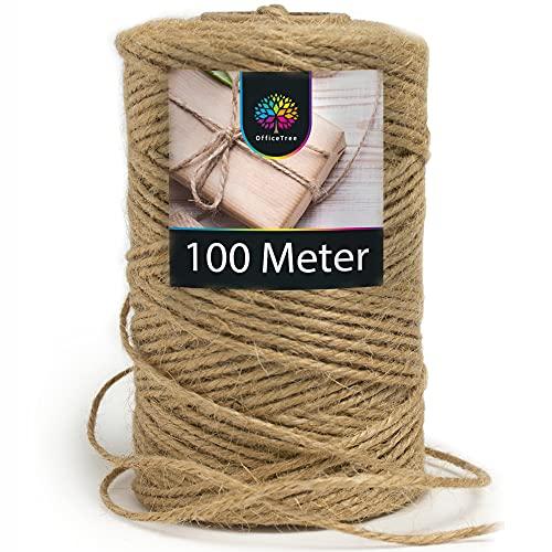 OfficeTree Cuerda Manualidades 100 m - Cuerda de Yute 1 Rollo - Producto Natural de Alta calidad para el Hogar, Jardinería, Artesanía y Decoración