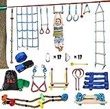 Ninja Rope Slackline Monkey Bar Kit Juego De Accesorios Para Slackline Para Niños Equipado Con Los Accesorios Más Completos Para Niños Con Cuerda De Escalada, Escalera De Cuerda, Red De Obstáculos.