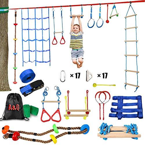 Ninja Rope Slackline Monkey Bar Kit Juego De Accesorios Para Slackline Para Niños Equipado Con Los Accesorios Más Completos Para Niños Con Cuerda De Escalada, Escalera De Cuerda, Red De Obstáculos