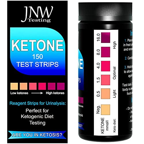 JNW Direct Ketone Test Strips, 150 Urinalysis Keto Test Strips for Testing Body Urine Ketosis Levels, Perfect Kit for Ketogenic and Paleo Diets