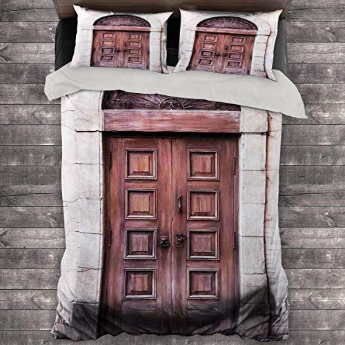 Miles Ralph Rustic King Bed Comforter Arched Wooden Venetian Door with Eastern Royal Ottoman Elements European Culture Duvet Cover Pillowcase 89'x89' inch Brown Cream