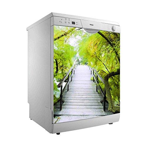 Vinilo para Lavavajillas Pasarela Madera vegetación Verde | Varias Medidas 65 x 75 cm | Adhesivo Resistente y de Fácil Aplicación | Pegatina Adhesiva Decorativa de Diseño Elegante