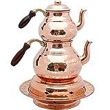 Juego de 2 teteras de cobre con tapas y mango de madera, calentador de tetera, calentador de cobre, teteras de cobre, tetera martillada de cobre tetera, té turco, olla de cobre, Samovar
