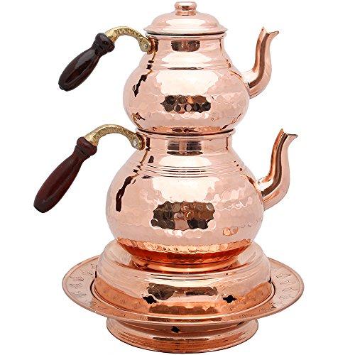 Set van 2 koperen theepotten met deksels en houten handvat, theepot, koperen verwarmer, koperen theepotten, gehamerd koperen theepot, Turkse thee, koperen pot, samovar
