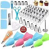 KYER Kit de suministros de decoración para pasteles, pasteles, bolsas de hielo, boquillas en caja con raspador de crema
