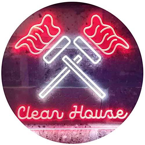 ADV PRO Clean House Helper Services Deco Dual Color LED Enseigne Lumineuse Neon Sign Blanc et Rouge 600 x 400mm st6s64-i3596-wr