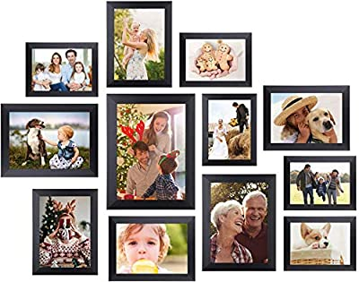 Homemaxs 12 Pcs Picture Frames, Picture Frames Set, Picture Frame Collage, Gallery Wall Frame Set, Photo Frames for Tabletop and Home Decor, One 8x10 in, Four 5x7 in, Five 4x6 in, Two 6x8 in, Black