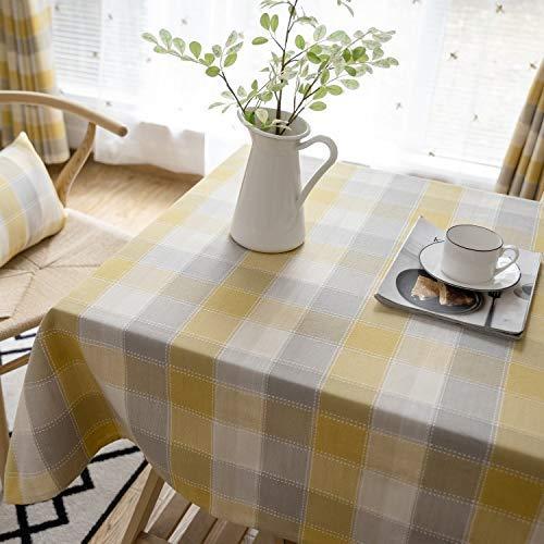 GH-YS Manteles rectangulares a Cuadros, Cubierta de Mesa de celosía Impermeable para Cocina Comedor Interior Exterior decoración de Mesa, Cuadros Amarillos 100x100cm (39x39 Pulgadas)