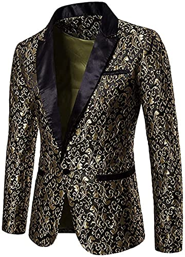 Mens Slim Fit Paisley Suit Single Breasted Party Suit Jacket 1 Button Sport Coat