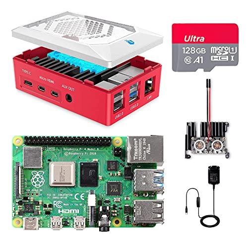 Raspberry Pi 4 Model B 8GB RAM Kit, RPi Barebone con MicroSD Card 128GB, Type C Alimentatore 5.1V 3A, 2 Micro HDMI Cavi, Ventola, Raspberry Pi4 Custodia Rossa, Lettore di Scheda -RPi 8128