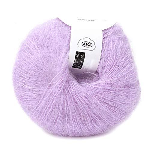 Popular Multi Color Angora Long Wool Yarn Soft Mohair Pashm Knitting Thread for Weave Scarves Weaving(Purple)
