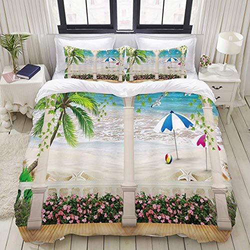 Juego de funda nórdica de 3 piezas de fácil cuidado y 2 fundas de almohada, jardín, playa, océano azul, puerta arqueada, flor rosa, verde, palmera, vides, vacaciones, elegante funda de edredón de micr