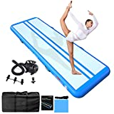 JOOLOOG 13ft/16ft/20ft/23ft/26ft Inflatable Air Gymnastics Mat Training Mats 4/8 inches Thickness Gymnastics Tracks for Home Use/Training/Cheerleading/Yoga/Water with Pump