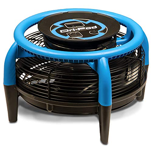 Dri-Eaz Dri-Pod Pro Omnidirectional Floor, Carpet Dryer, Dry Cabinets Cars, Boats and RVs, Ventilates, F451, Item 121657, Durable, Lightweight, Blue/Black