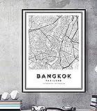 Nordic Poster Bangkok Karte Thailand Stadtplan Wandkunst