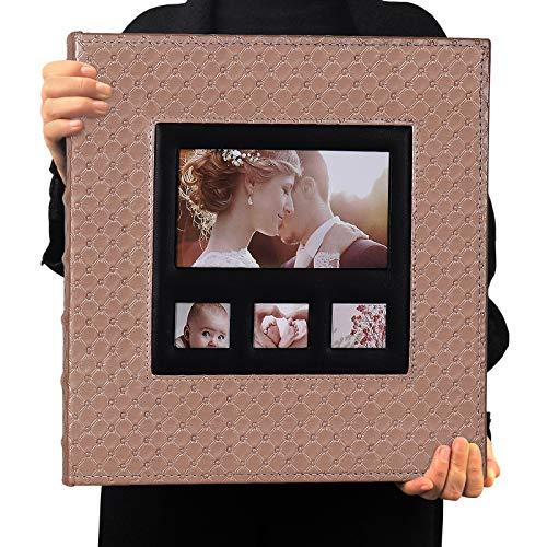 RECUTMS Album Fotografico 10x15 cm Tasche Per 600 Foto Copertina In Pelle, Pagine Nere Orizzontali e Verticali 10x15 cm Foto Album di Famiglia (Marrone 01)
