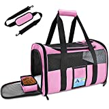 Refrze Pet Carrier Airline Approved, Cat Carriers for Medium Cats Small Cats, Soft Dog Carriers for Small Dogs Medium Dogs, TSA Approved Pet Carrier for Cats Dogs of 15 Lbs, Puppy Carrier,Pink