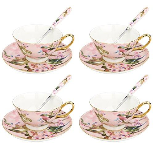 Artvigor, Porzellan Kaffeeservice, 12-teilig Teeservice Set für 4 Personen, mit je 4 Kaffeetassen, Untersetzer und Löffel