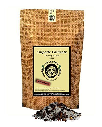 Uncle Spice Chipotle Chilisalz - 250g scharfes Chilisalz - Premiumqualität - Geräucherte Jalapeno mit Meersalz in Spitzenqualität - Gourmet Chillisalz - Perfektes Salz als Geschenk und zum BBQ