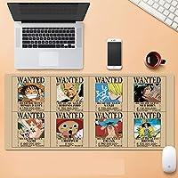 ワンピース大型ゲーミングマウスパッド ワンピースインチ XL 拡張マット デスクパッド ゴム製 One Piece マウスパッド Luffyデスク&マウスパッドワンピーステーブル-800*300*3mm-E_700*300*3MM